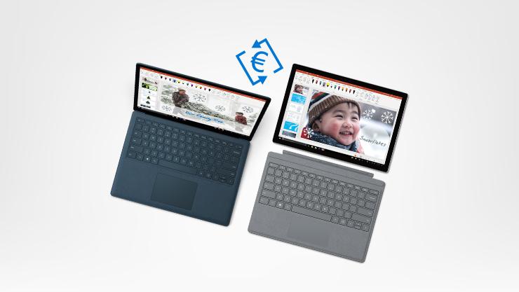 Console Xbox e Xbox One S con due controller, Surface Laptop e Surface Pro. Tra le due consoles e' presente il simbolo dell'euro. Fiocchi di neve