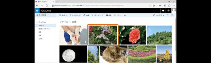 OneDrive の写真の一覧画面