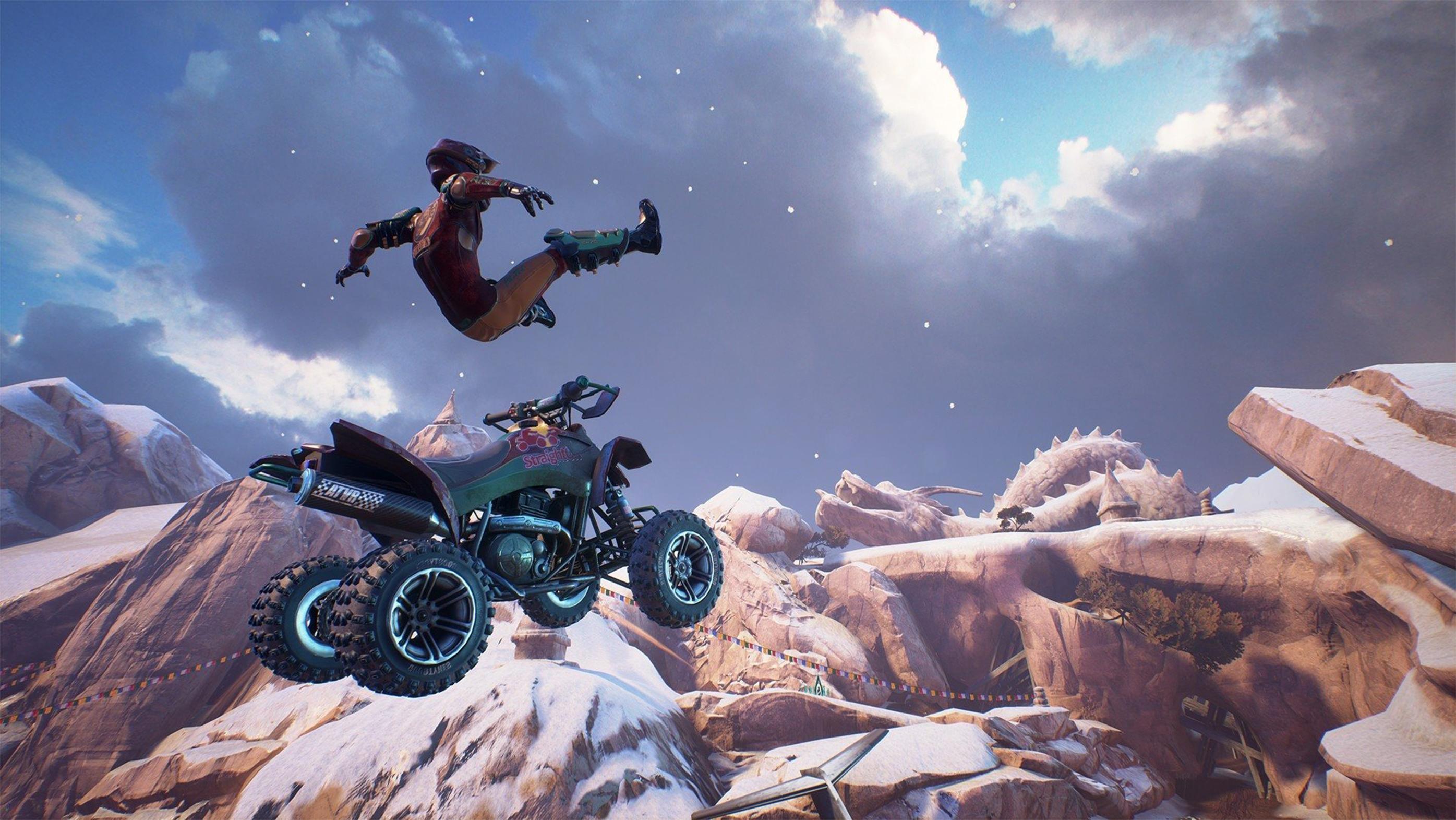 guy flying off his ATV