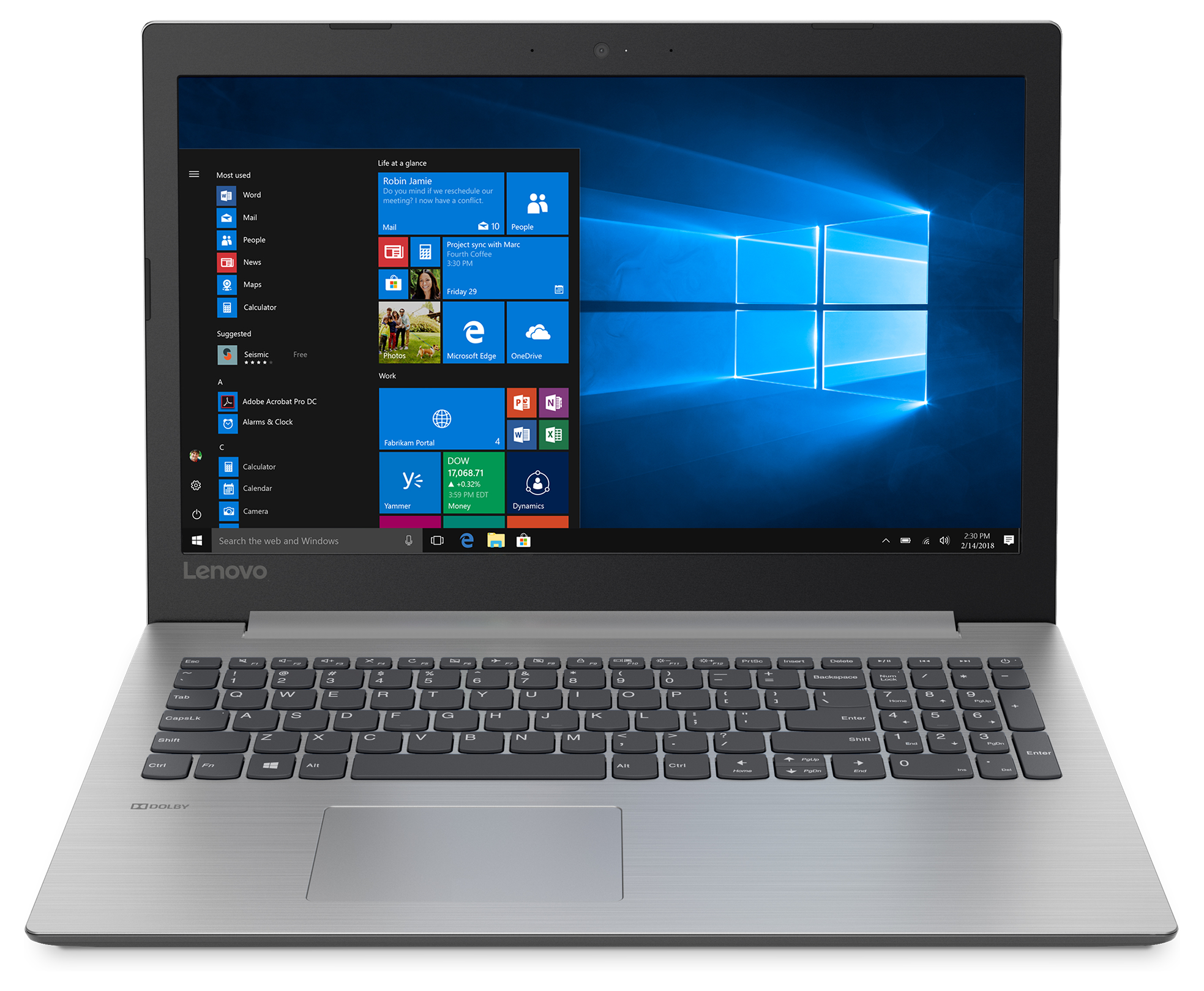 """Front view of the Lenovo IdeaPad 330 15"""" Touch Laptop"""