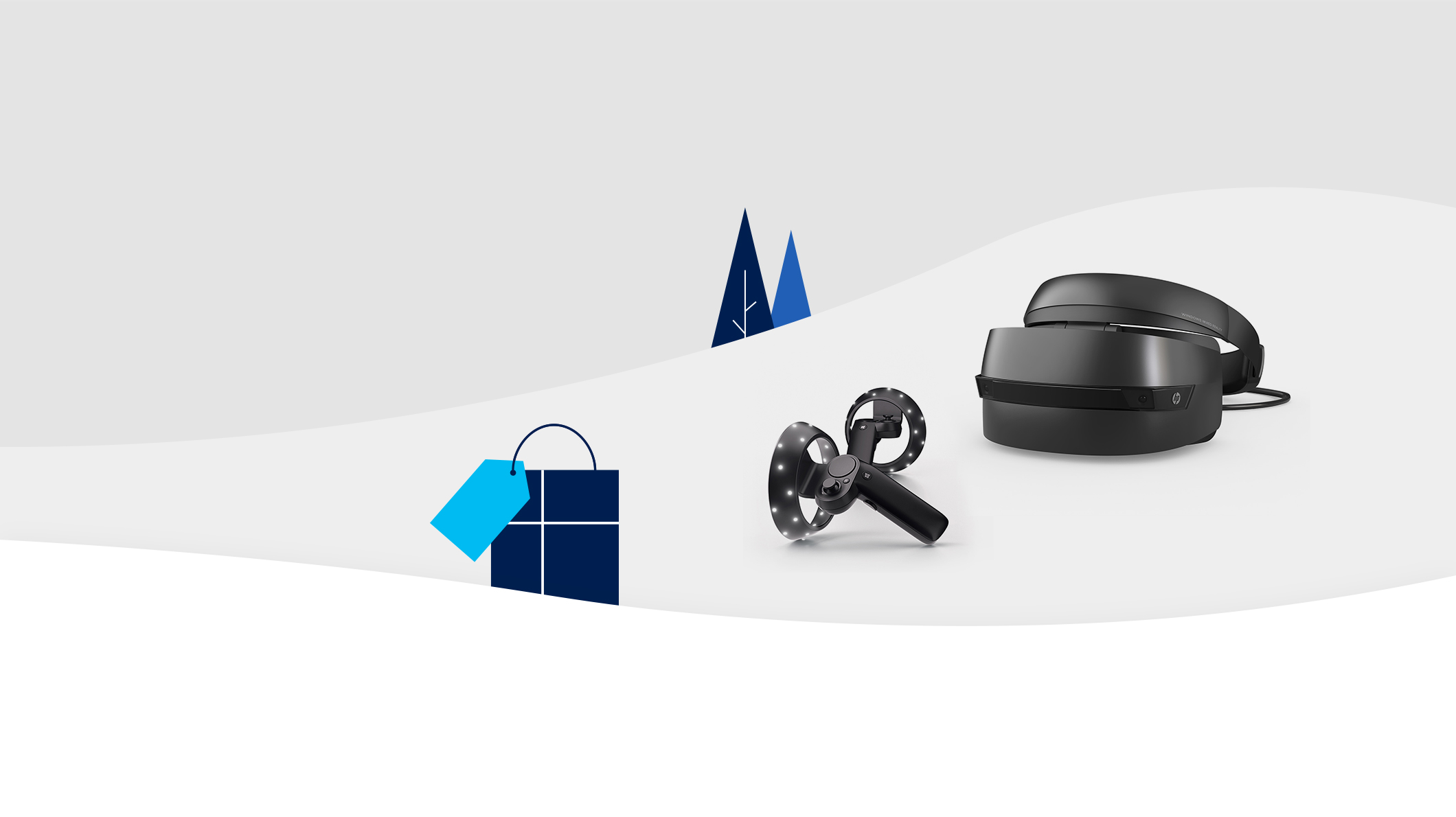 HP Windows Mixed Reality Headset with a Motion Controller in a winter scene