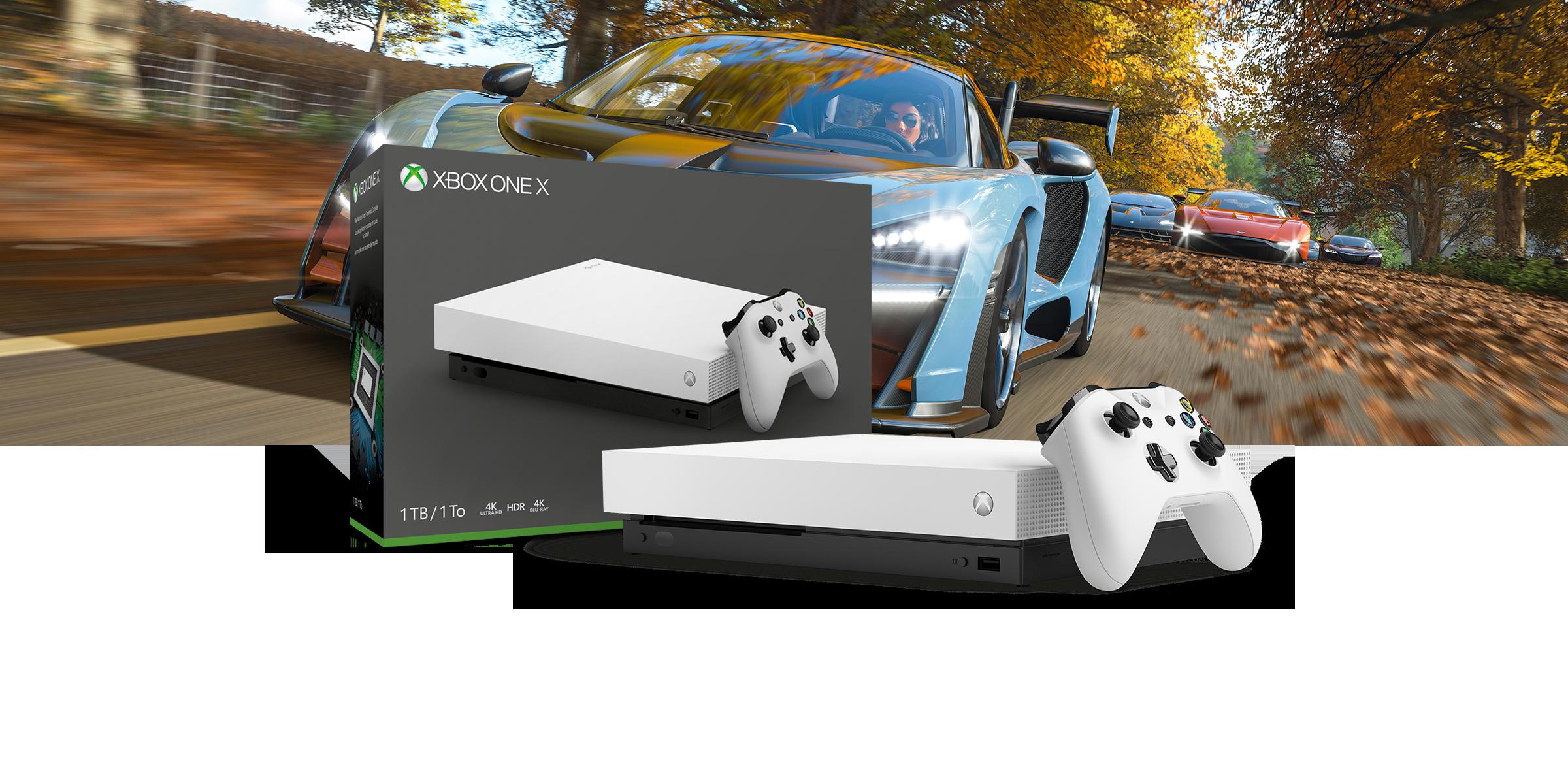 Xbox One X LE White 1TB Console - FH4 & FM7
