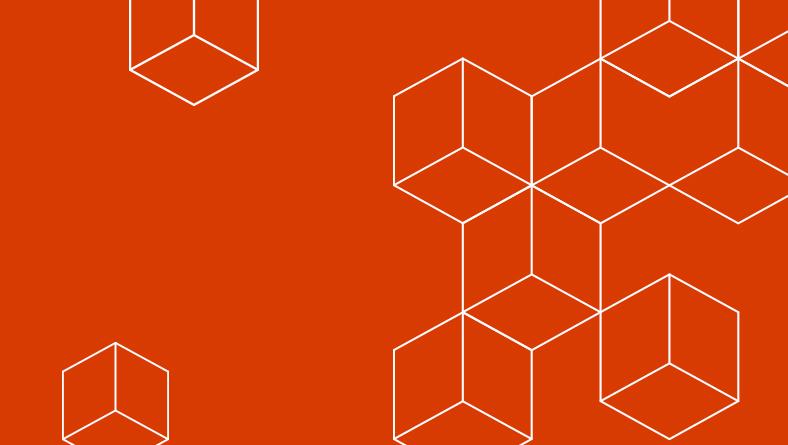 Graphic image from Ignite with an orange background and white line drawings of three-dimensional squares, a group of them connected in an abstract structure.