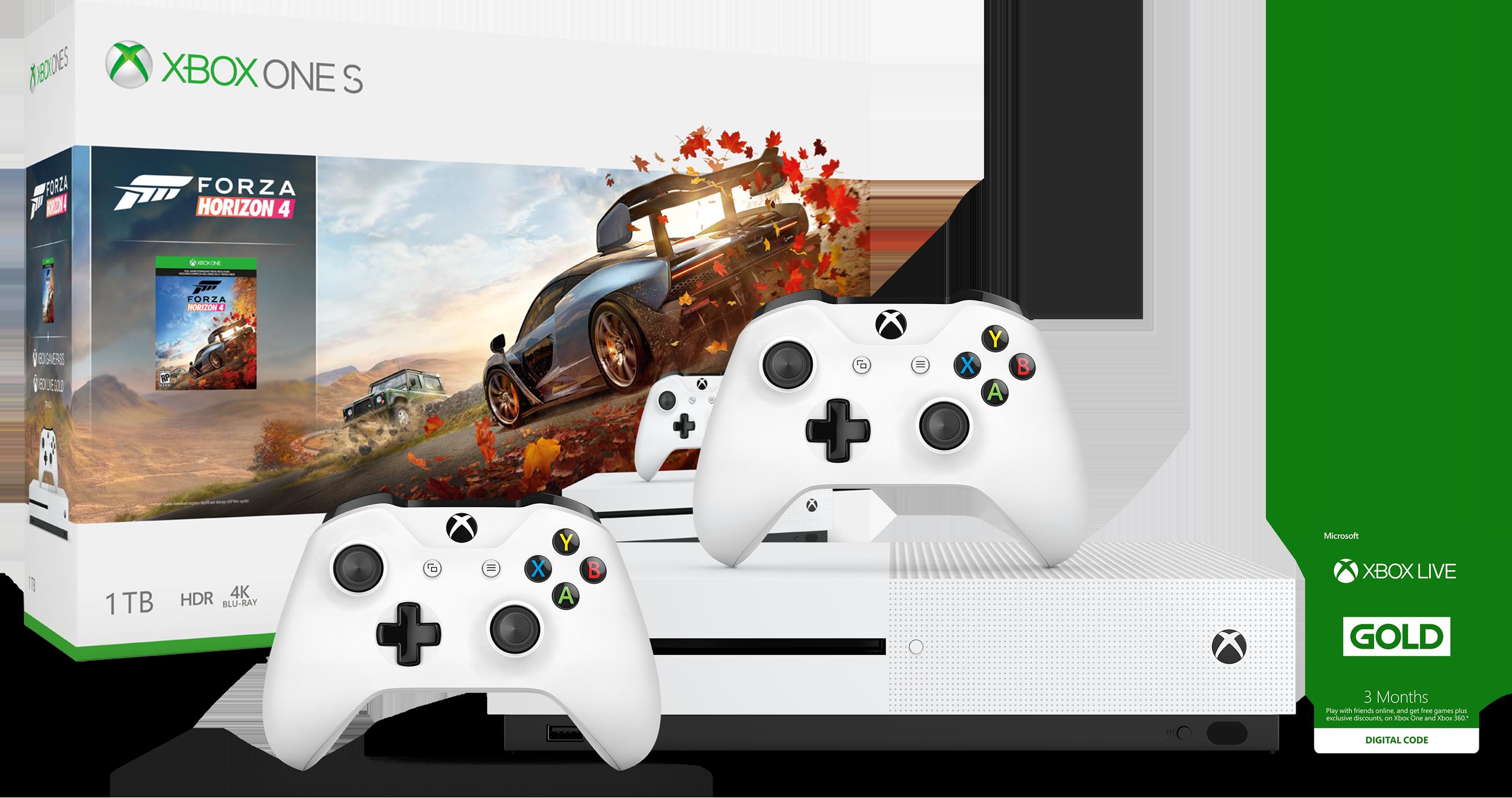 Pack console Xbox One X + Forza Horizon 4 + Manette Xbox sans fil blanche + Abonnement Xbox Live Gold
