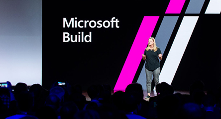 Speaker onstage at Microsoft Build 2018