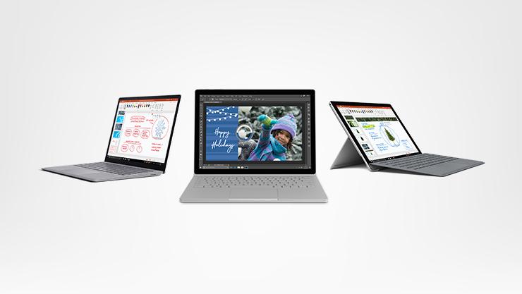 Surface Laptop, Surface Pro et Surface Book