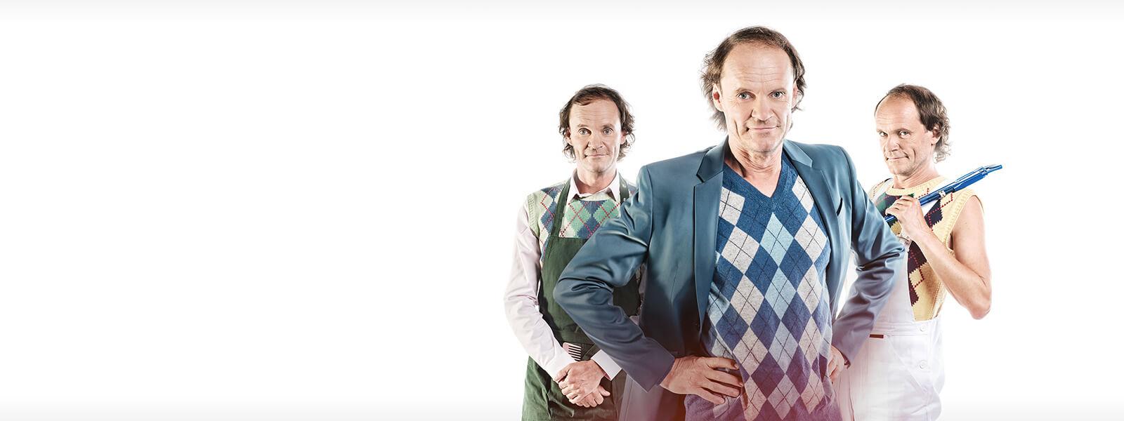 Olaf Schubert in verschiedenen Unternehmerrollen: Hundefriseur, Inhaber Reisebüro, Handwerker
