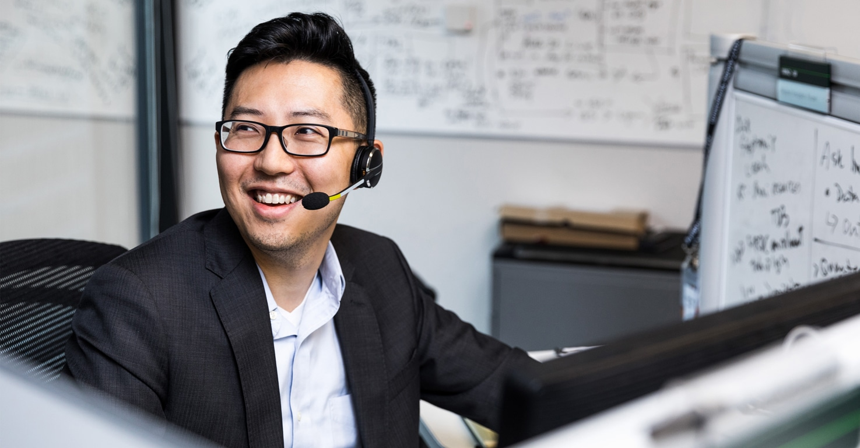 A customer service representative in an office