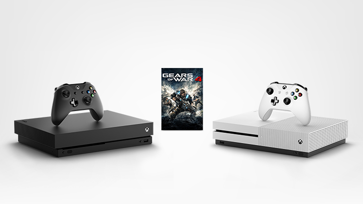 Xbox One X, Xbox One S, and Gears of War 4 digital game for Xbox One.