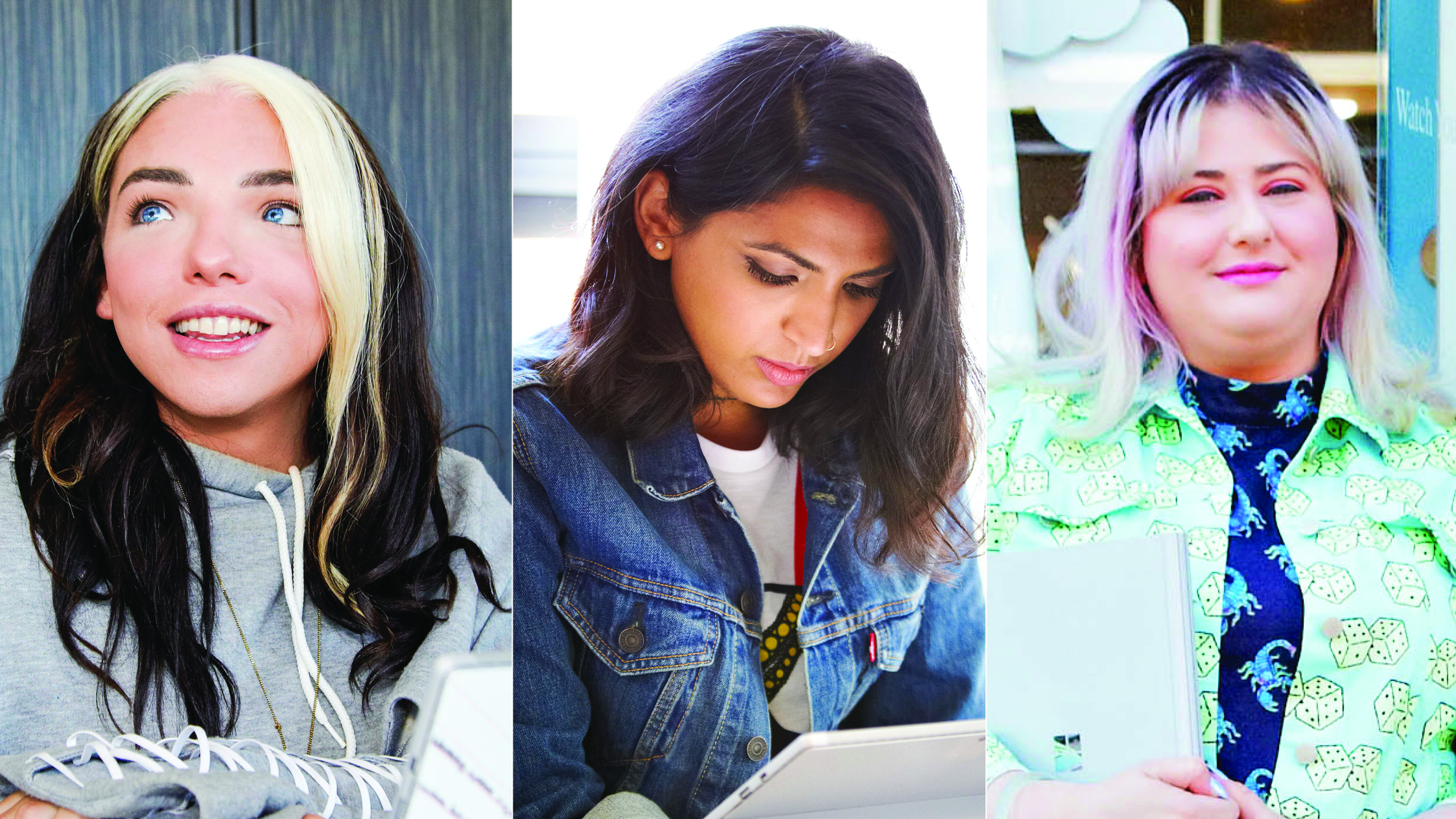 From left to right: Stef Sanjati, LGBTQ Activist; Maria Qamar, Digital Artist @Hatecopy; Hayley Elsaesser, Fashion designer