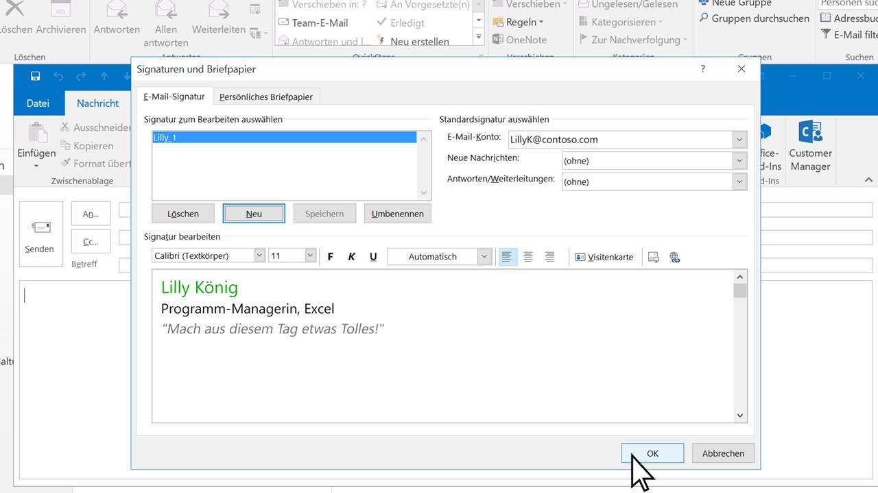 Video Erstellen Einer E Mail Signatur Outlook