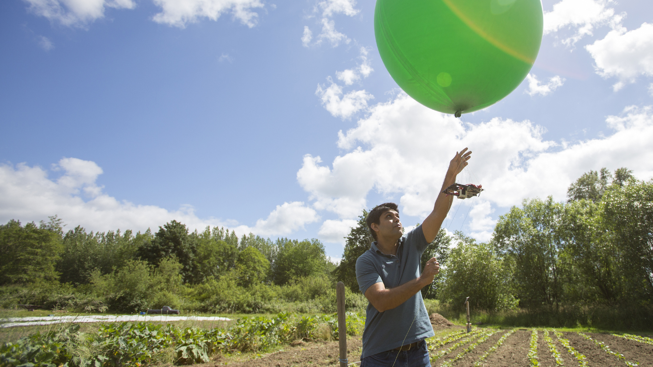 A man in the countryside lets go of a large balloon with a device attached to it.