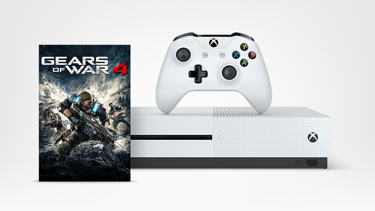 Xbox One S and wireless controller, Gears of War 4 box art