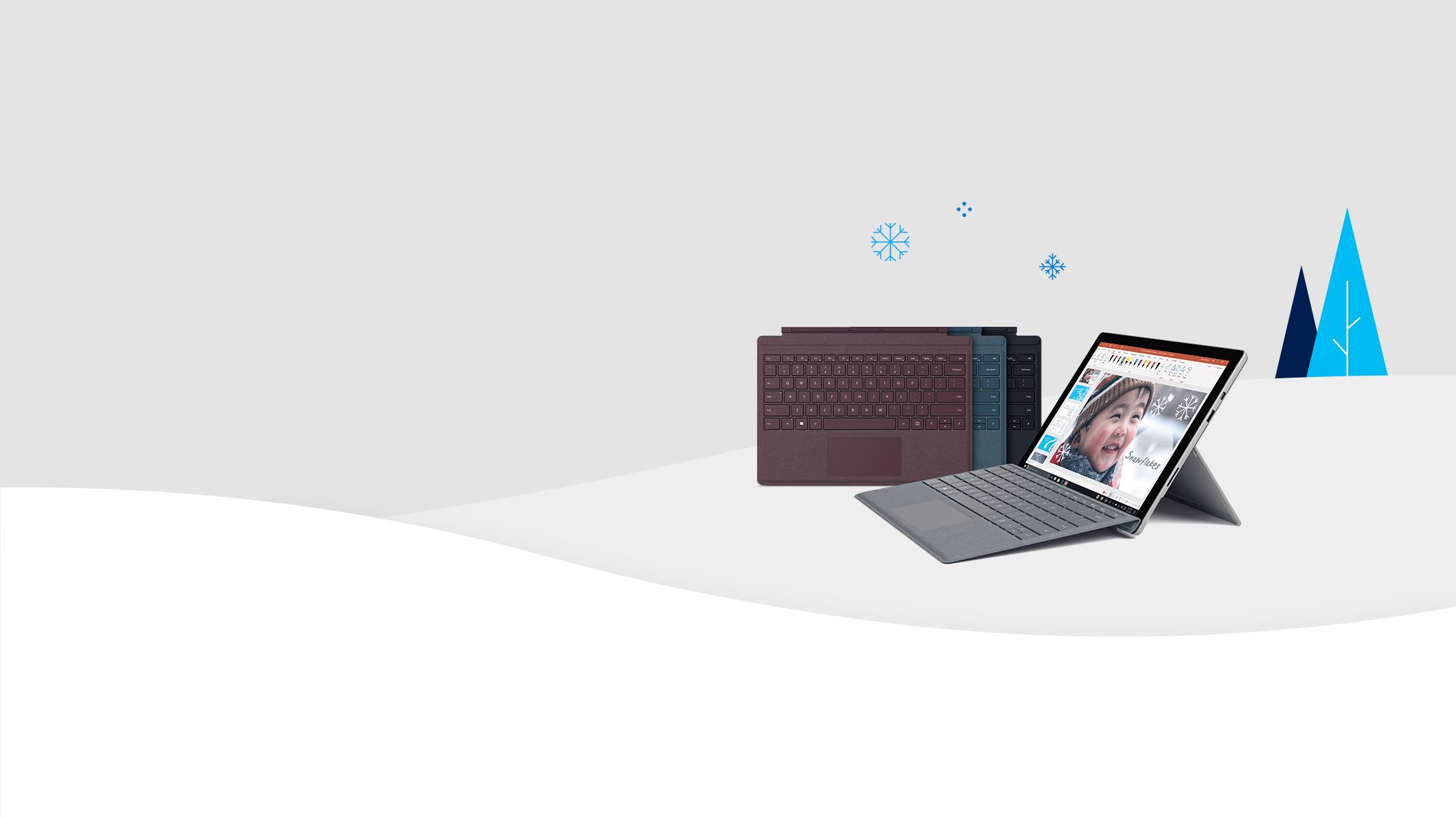 Surface Pro met Signature Type Covers in verschillende kleuren