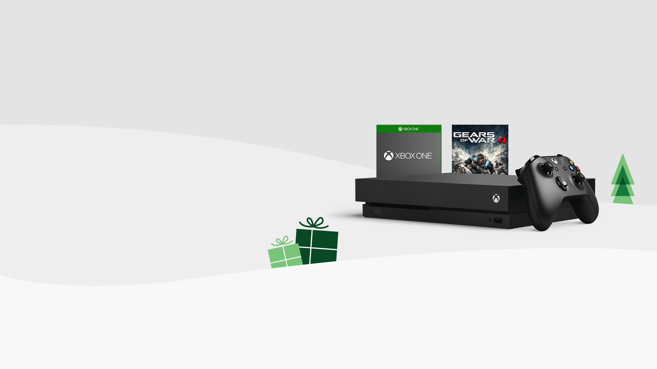 Xbox One X and wireless controller, Gears of War 4 box art, Xbox One game box art