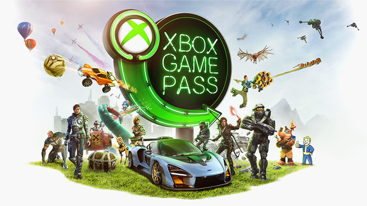 Xbox Game Pass neon sign surrounded by various video game characters.