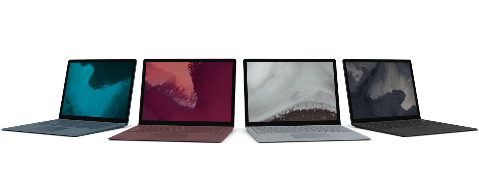 所有顏色的 Surface Laptop 2 排列
