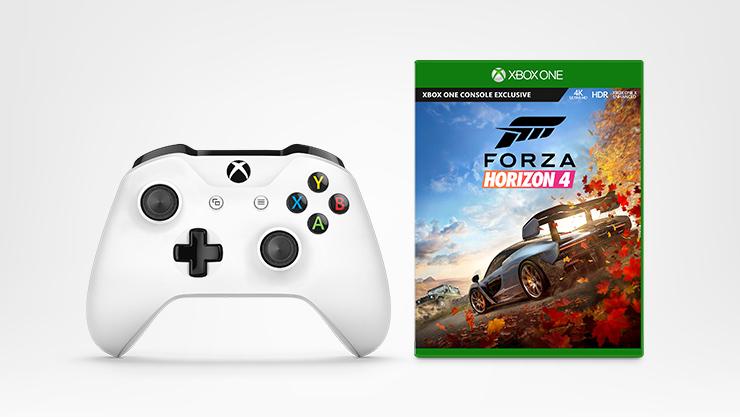 Forza Horizon 4 game, Xbox wireless controller - White