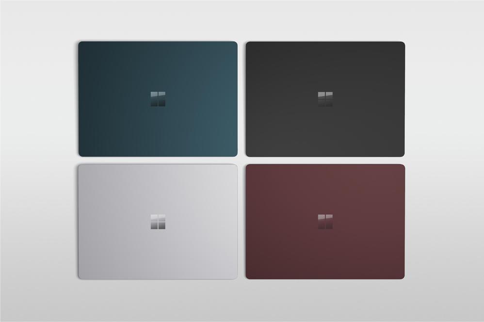 鈷藍色、黑色、白金色和酒紅色的 Surface Laptop 2