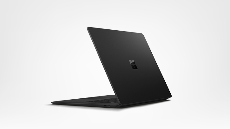 Back view of the black Surface Laptop 2
