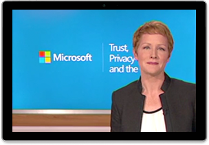 Still image from webcast framed in a tablet—the image is of Microsoft Corporate Vice President, Julia White, in front of a title screen background.