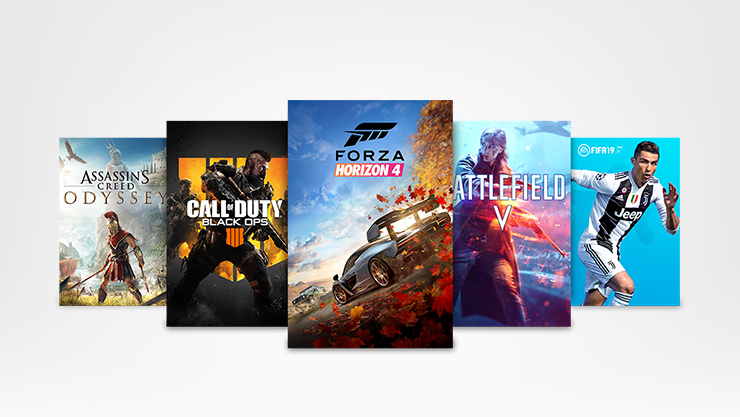 Forza Horizon 4, Call of Duty Black Ops, Assassins Creed Odyssey, Battlefield V, FIFA19