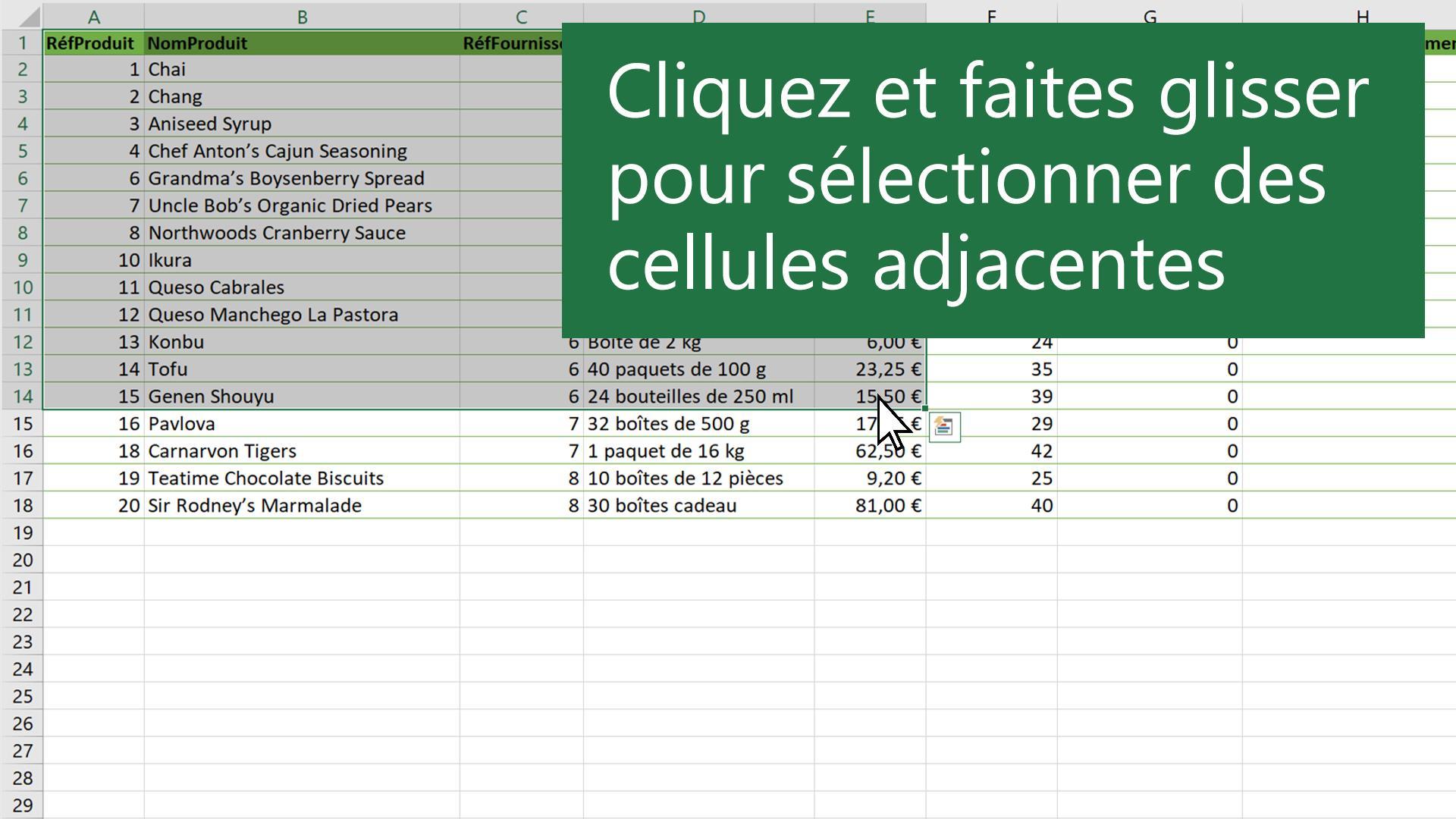 Selectionner Le Contenu De Cellules Dans Excel Support Office