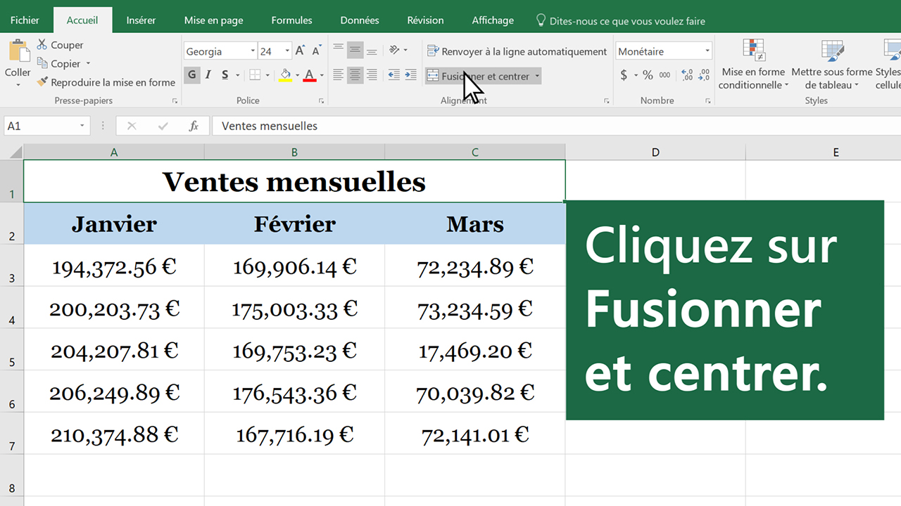 Fusionner Des Cellules Et Annuler La Fusion De Cellules Excel