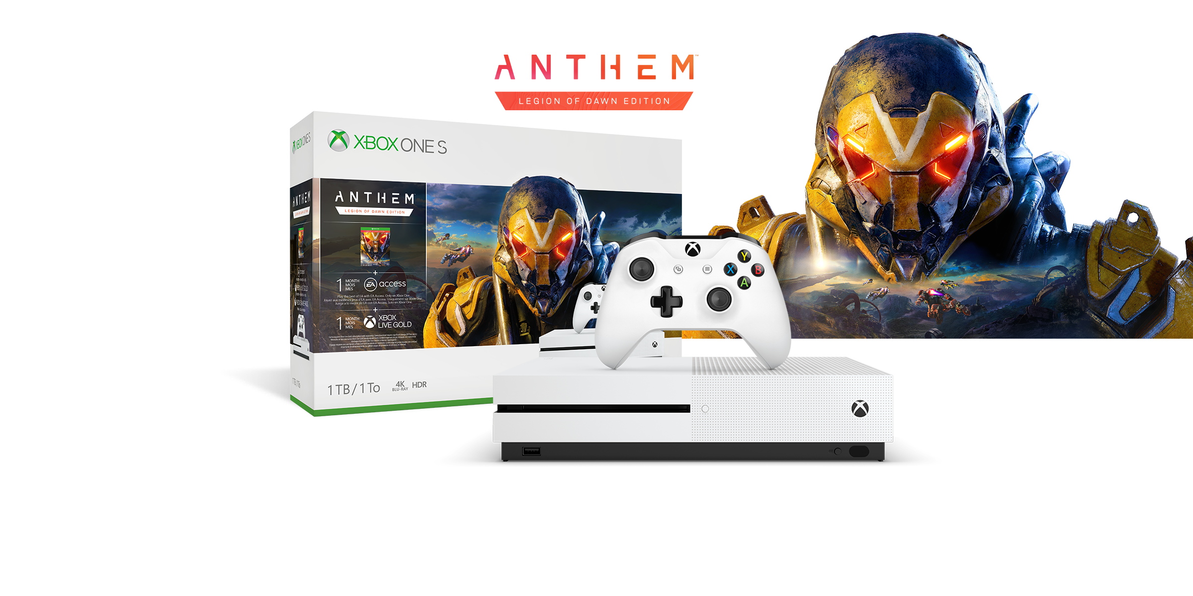 Xbox One S Anthem Bundle box art with the Xbox One S console in front of the head of an exosuit