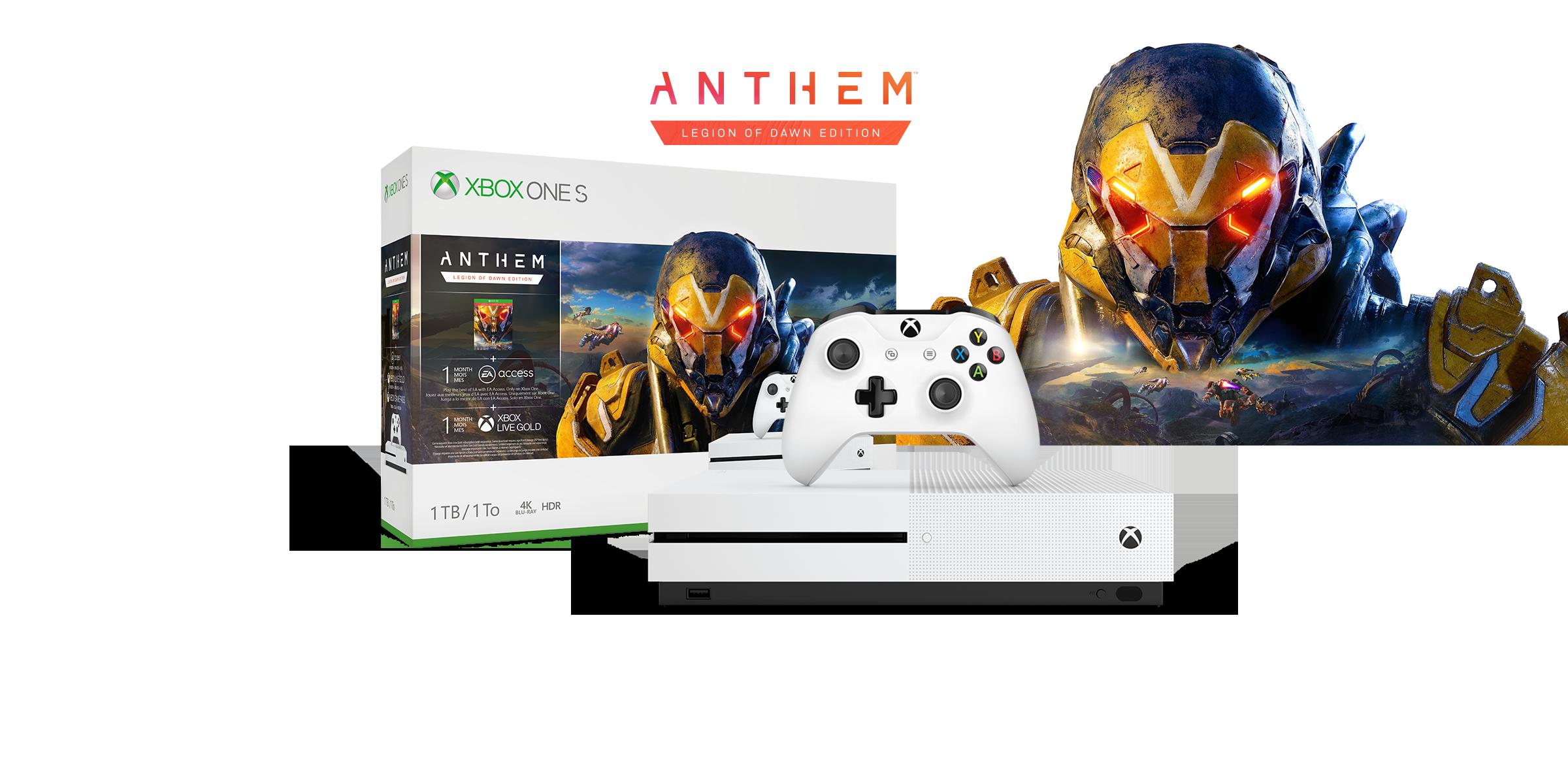 Xbox One S Anthem Bundle-Verpackungsdesign mit der Xbox One S-Konsole vor dem Kopfteil eines Exoanzugs