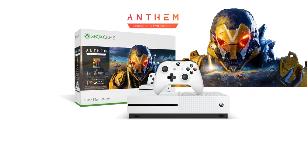 Xbox One S Anthem Bundle boxart with the Xbox One S console in front of the head of an exosuit