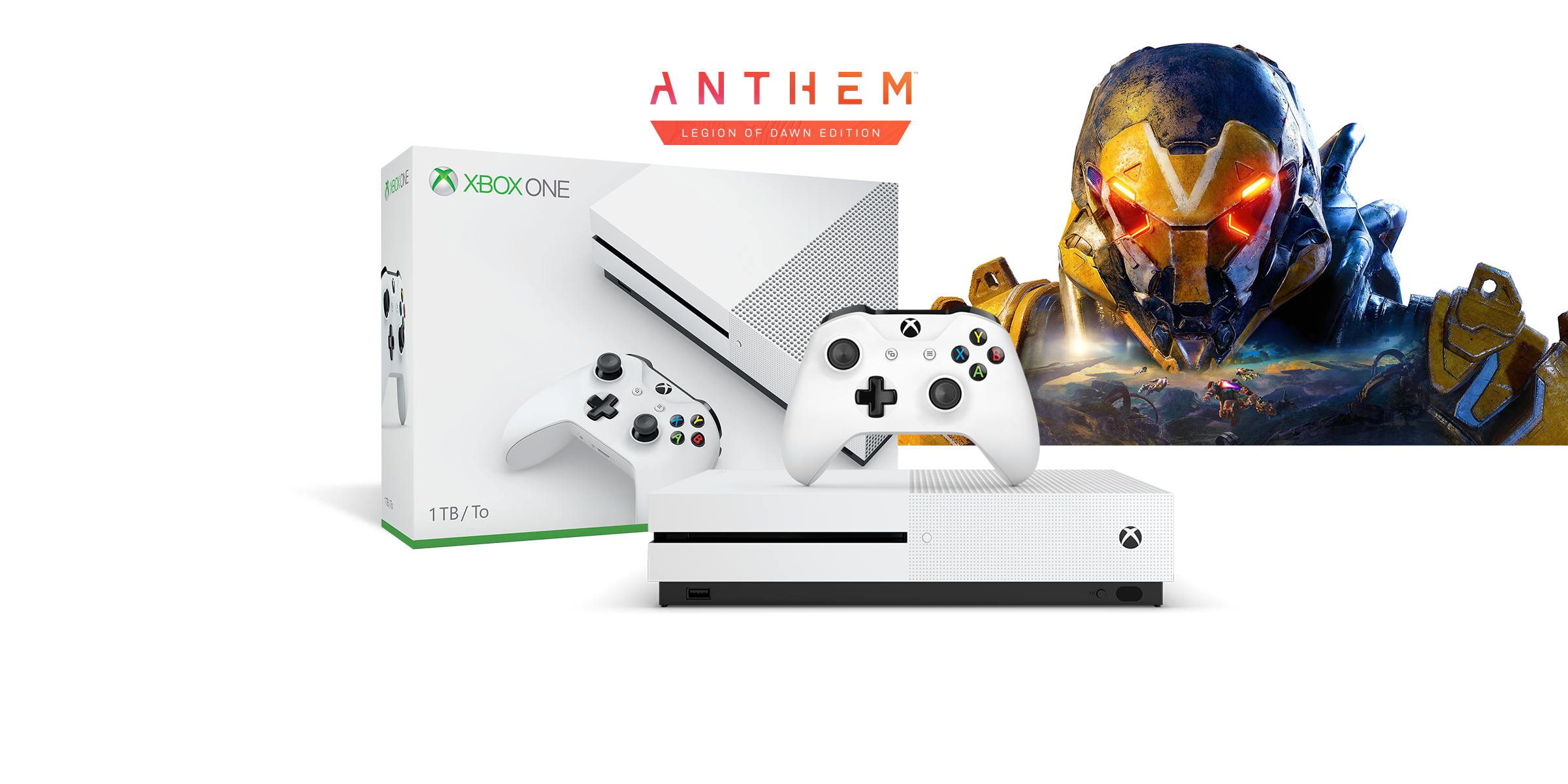 Xbox One S boxart with the Xbox One S console in front of the head of an exosuit