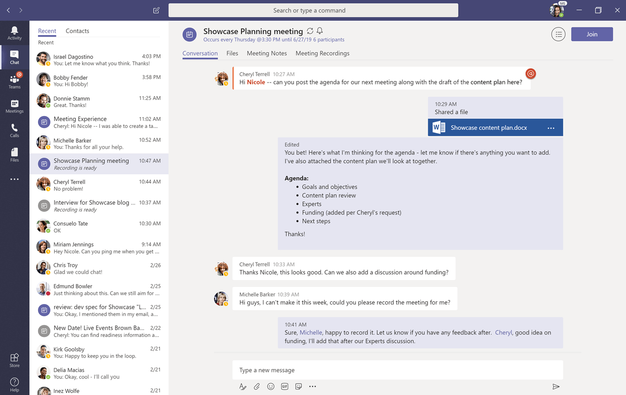 A screen shot of Teams shows how the application integrates chats,  meeting notes,  phone calls,  and more into a single interface.,