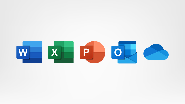 Office icons, Word, PowerPoint, Outlook, Excel, Onedrive Cloud