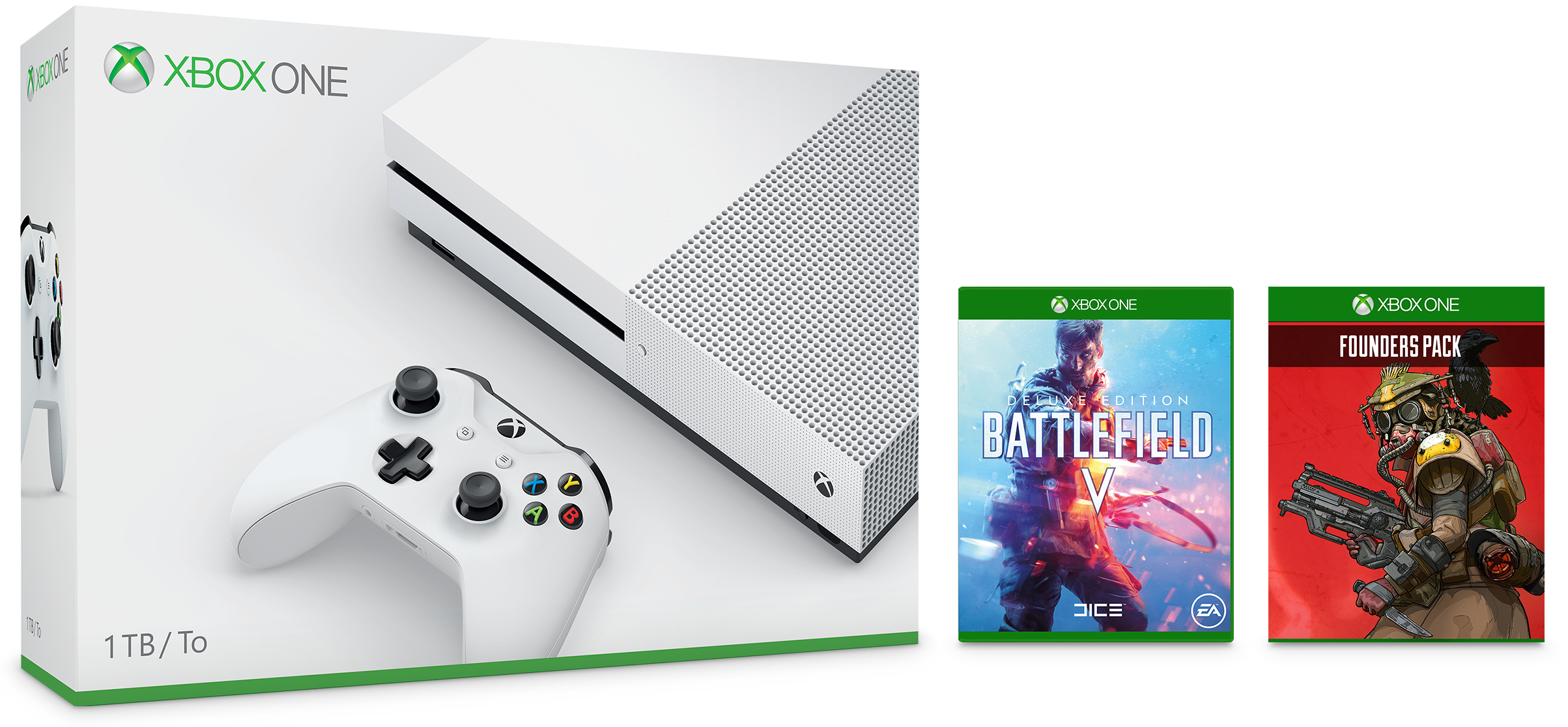 Xbox One S 1TB Console – Battlefield V Bundle and Apex Legends Founder's Pack