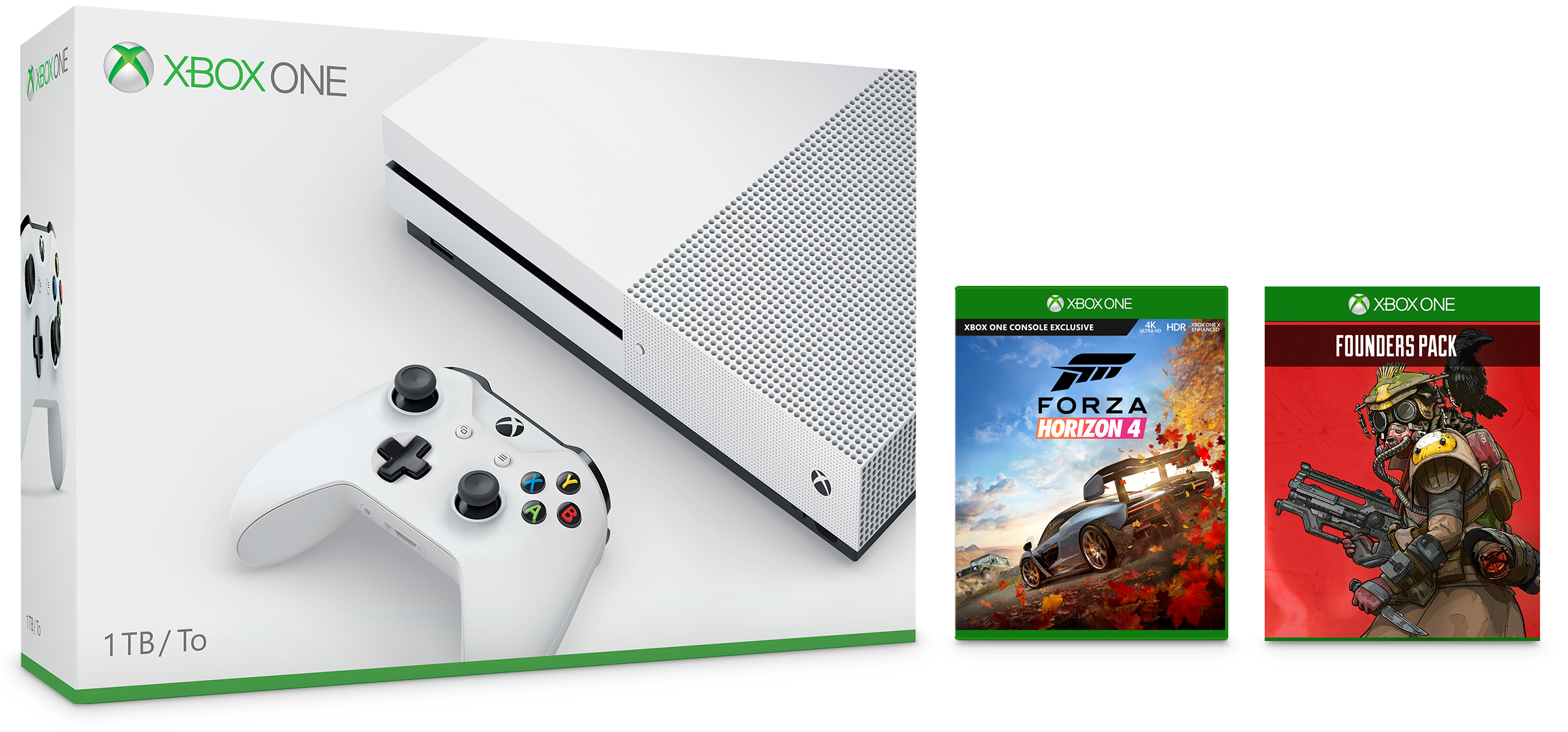 Xbox One S 1TB Console – Forza Horizon 4 Bundle and Apex Legends Founder's Pack