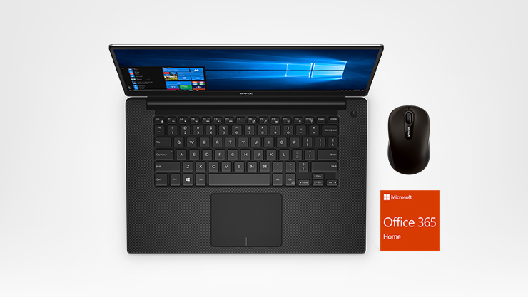 A Dell XPS 15 9570 laptop, a Microsoft Bluetooth Mobile Mouse 3600, and a Office 365 badge