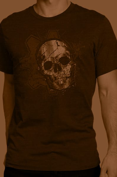 A collection of rotating Gears of War-themed products behind the Gears of War logo