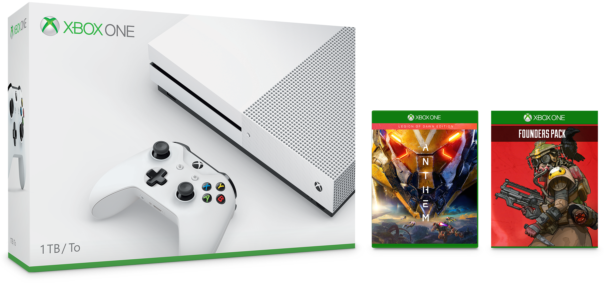 Xbox One S Anthem Bundle and Apex Legends Founder's Pack