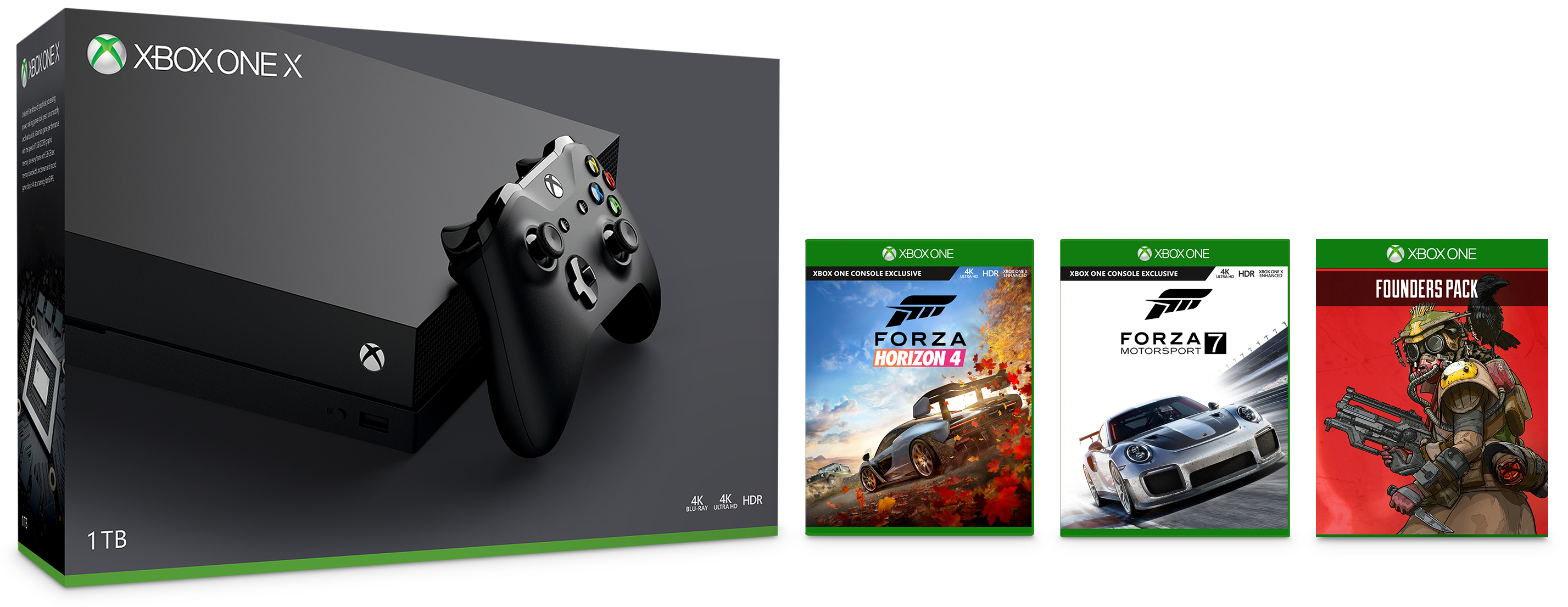 Xbox One X 1TB Console Forza Horizon 4 Bundle and Apex Legends Founder's Pack