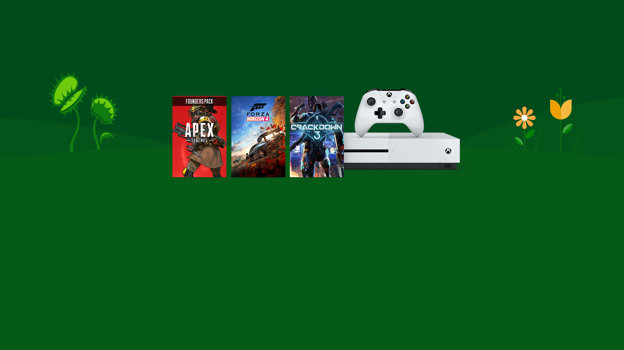 Xbox One S console, Apex Legends Founders Pack, Forza Horizon 4, Crackdown 3
