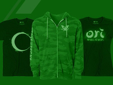 Green banner with three Xbox Official Gear shirts