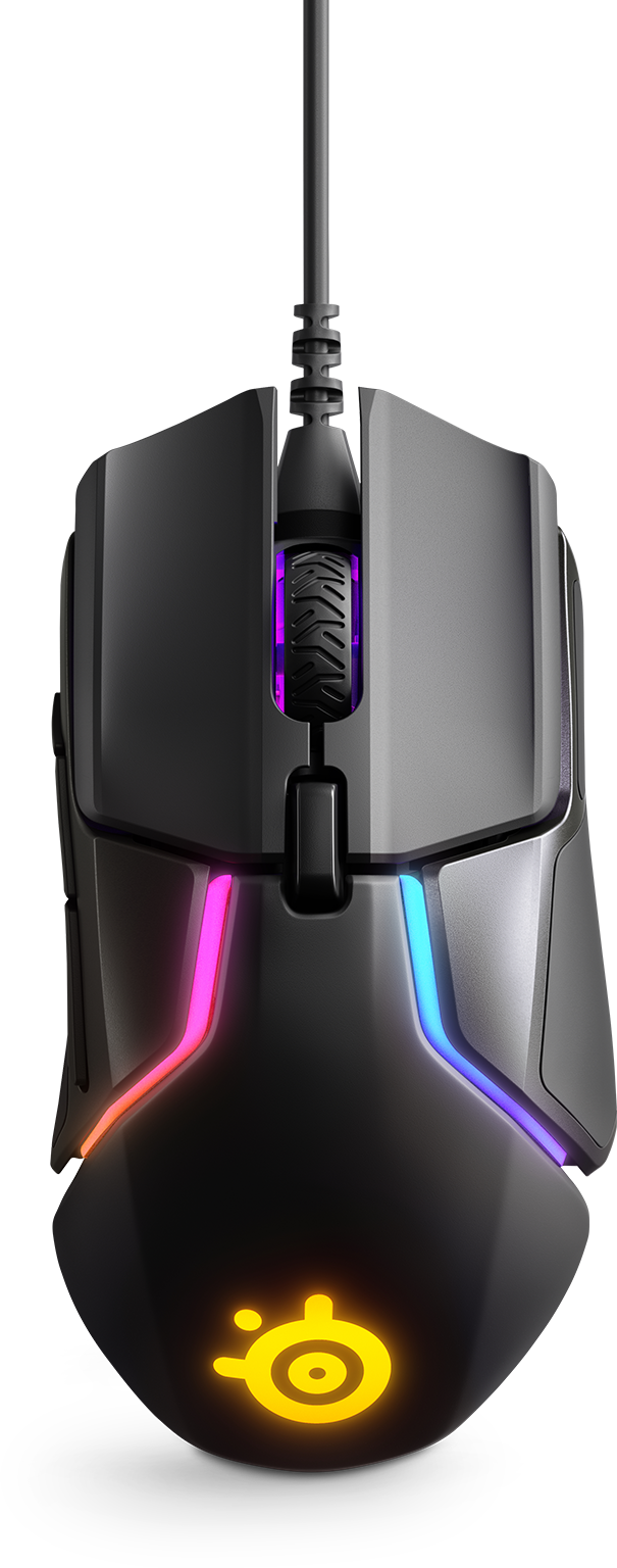 Front view of the Steel Series Rival 600 Mouse dandling in the air