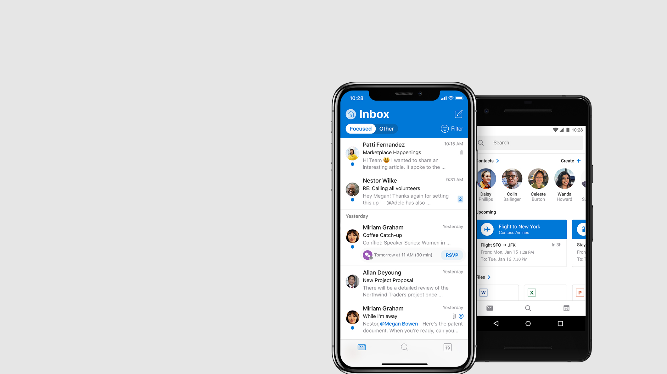 Telefón so systémom iOS a telefón so systémom Android s aplikáciou Outlook zobrazené na obrazovke