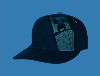A collection of rotating Minecraft-themed products behind the Minecraft logo