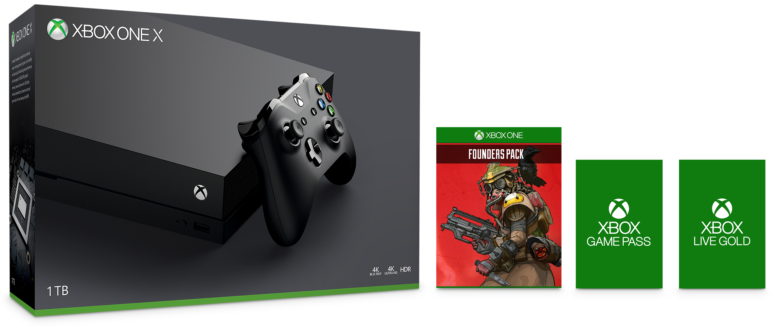Xbox One X 1TB Console Starter and Apex Legends Founder's Pack