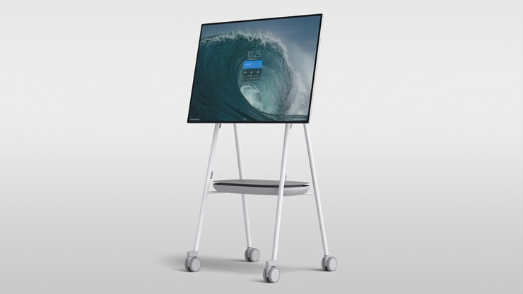 APC™ Charge Mobile Battery mounted on a Steelcase Roam™ Mobile Stand with Surface Hub 2S