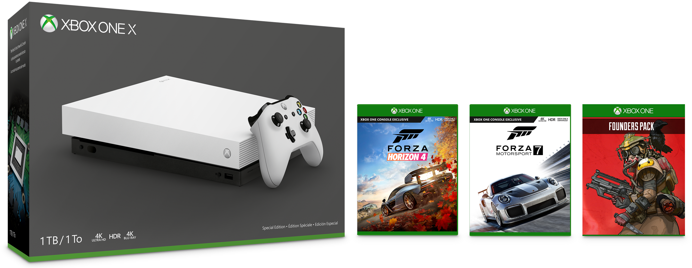 Xbox One X LE White 1TB Console and Apex Legends Founder's Pack
