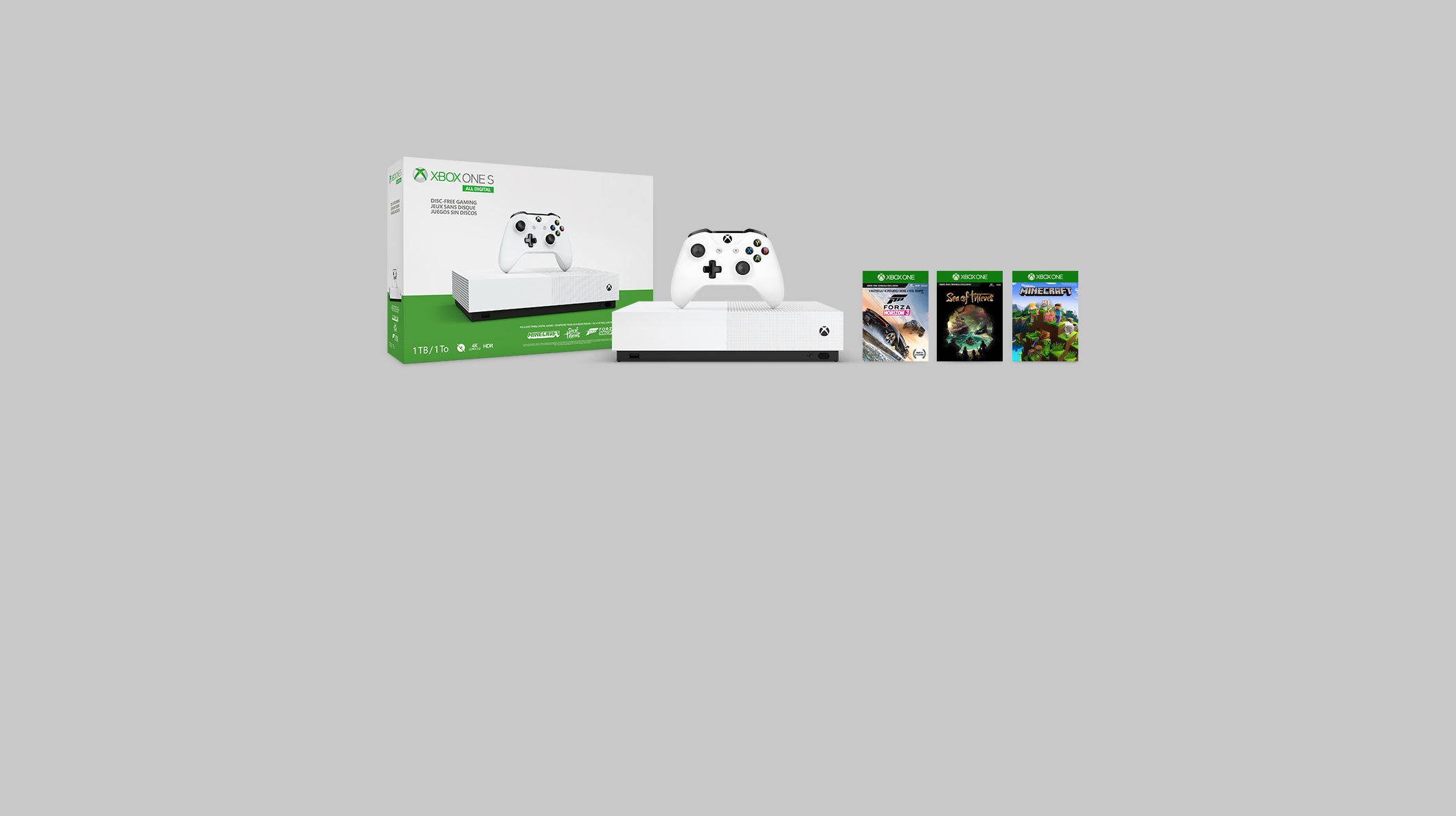 New Xbox One S All-Digital Edition console displaying pre-loaded game titles: Forza Horizon 3, Sea of Thieves, Minecraft