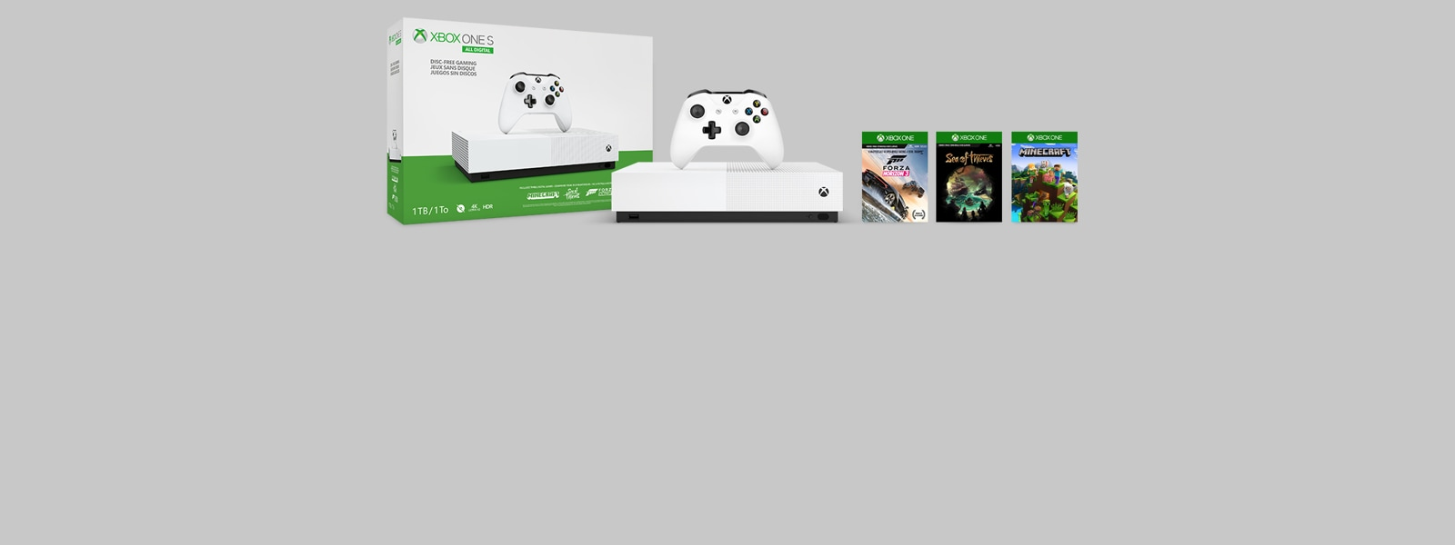 New Xbox One S All-Digital Edition console displaying preloaded game titles: Forza Horizon 3, Sea of Thieves, Minecraft